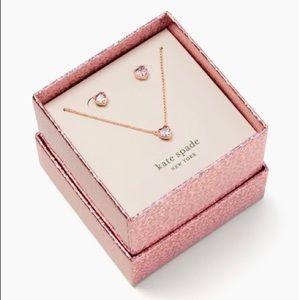 KATE SPADE Romantic Heart Necklace & Earrings Set